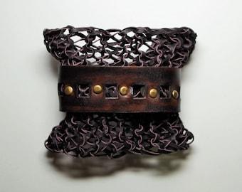 Bohemian Medieval leather bracelet cuff.  Knitted leather bracelet.  Tooled leather bracelet. Brown leather cuff.