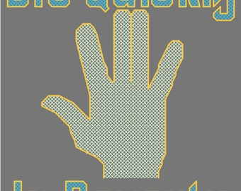 """Anti Vulcan Salute Spoof """"Die Quickly In Poverty"""" Cross Stitch Pattern PDF"""