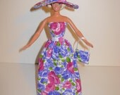 Handmade Barbie clothes - Beautiful gown with hat and bag 4 barbie doll