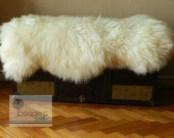 Genuine Rare Unique Natural Sheepskin Rug, Handmade