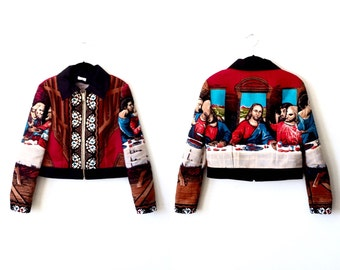 Last Supper Jacket / Tapestry Jacket / Bomber Jacket / Cropped Jacket Size XS S M L