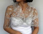 Silver Lace Wrap Shrug, Shawl Bolero, French Sheer Tulle Plus Size, Bridal Shoulder Evening Dress Cover Spring Summer Wedding Fashion