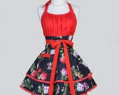 Flirty Chic Womens Aprons - Full Retro Kitchen Apron in Vintage Black and Red Spring Tulips Handmade Cute Sexy Womans Cooking Apron