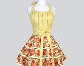 Flirty Chic Womens Aprons - Full Vintage Style Retro Pinup Kitchen Apron in Orange and Light Yellow Mums Cute Cooking Hostess Womans Apron