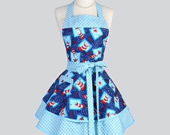 Ruffled Retro Womens Aprons - Cute Full Vintage Kitchen Cooking Womans Apron in Fun Seuss Cat in the Hat Blue Flirty Polka Dots Personalize