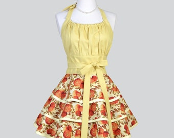 Flirty Chic Womens Aprons - Fall Floral Orange and Yellow Mums Vintage Style Cute Cooking Hostess Womans Apron