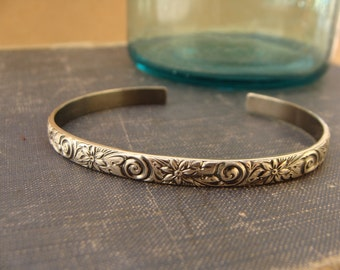 Oxidized Sterling Silver Stacking Cuff Bracelet--Floral Scroll Pattern--Handcrafted