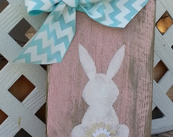 Rabbit Bunny Butt Wood Sign / Yellow Turquoise / Old Barn Wood Sign / Shabby Chic Easter Spring Decor / VOLUME DISCOUNT  / 3 Day Ship