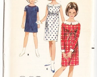 Vintage 1965 Butterick 3969 UNCUT Sewing Pattern Girls' One-Piece Dress Size 12