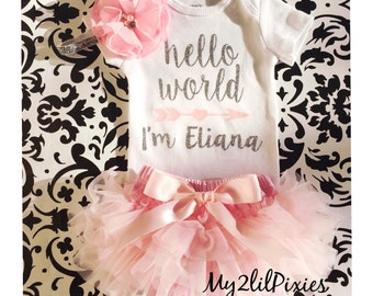 Baby Girl Take home outfit, Tutu Bloomer, Onesie and Headband set- Hello World Preaonalized Newborn baby Girl Onesie, Newborn baby set