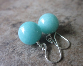 Chunky Amazonite Gemstone Orb Earrings, Baby Blue, Cerulean Earrings, 925 Sterling Silver, Bright, Vibrant, Canadian Seller, Something Blue