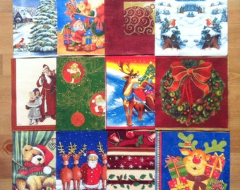 PN-63. Set of 12 Paper Napkins Christmas / New Year / Collectibles Scrapbooking