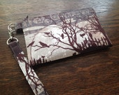 Halloween Crows Moon Fabric Wristlet with lining and strap