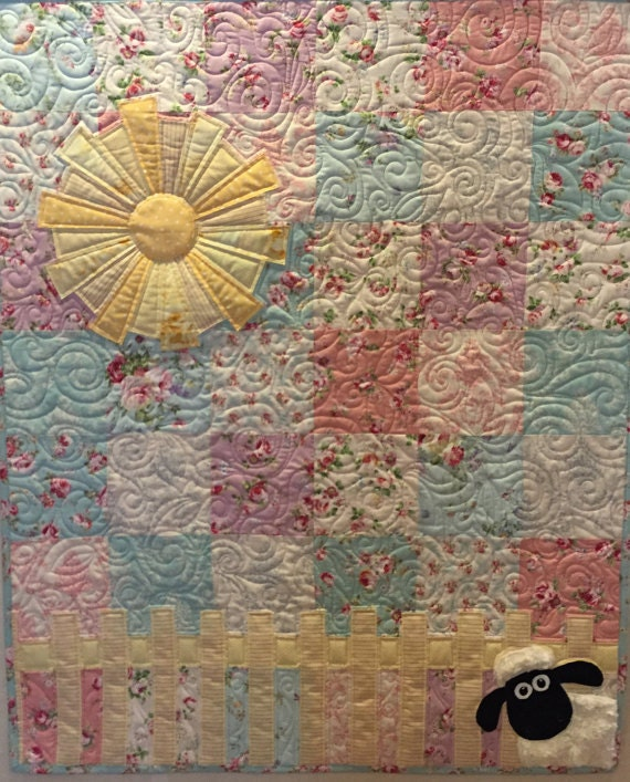 Lamb In The Roses Baby Quilt Pattern By Ellen Abshier Of