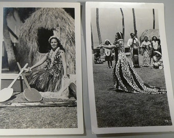 Vintage Hawaii RPPC Postcards & Pictures Hula Girl Surfing
