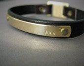 Brass and Leather Bracelet with Custom Initials stamped on Brass, Brown Leather Bracelet, Wedding, initials, Anniversary, Gift, boyfriend