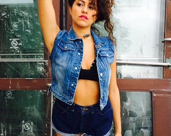 Vintage Crop Denim Vest