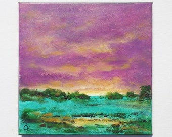 Field landscape painting in oil and acrylic, 12x12 square landscape in purple and teal tones, abstract landscape