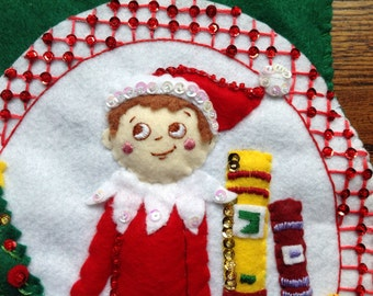 Completed Bucilla Christmas Stocking Elf on a Shelf