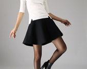 Mini wool skirt black skirt women skirt (1101)