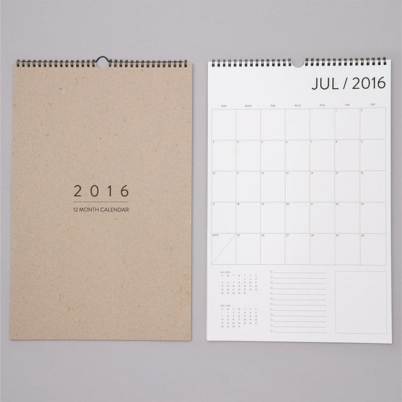 SALE. 12 Month Wall Calendar by REDSTARink on Etsy