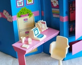 Barbie Home and Office, folding office and apartment playset, Day-to-night series, 1984, barbie accessory