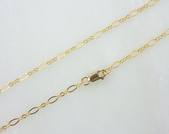 """14""""  Gold Filled Long And Short Oval Chain Necklace With Lobster Clasp"""