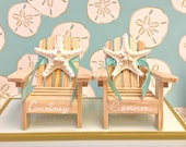 Beach Wedding Cake Topper - 2 Mini Adirondack Chairs with Natural Starfish - 6 Chair Colors and 23 Ribbon Choices
