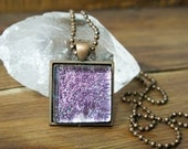 Pretty in Pink Glass Square Necklace, Square Glass Pendant, Dichroic Jewelry, Dichroic Pendant, Fused Glass Jewelry, Square Necklace