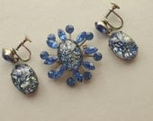1950s Shimmering Blue Art Glass & Rhinestone Brooch Pin Earrings Set Parure