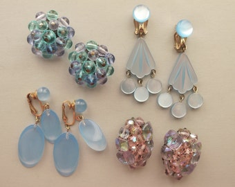 4 Pairs 1960's Lucite Crystal Earrings Drop Chandelier Style Crystal Clusters Shimmery Shades of Blue Pink