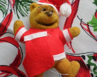 Winnie the Pooh Flocked Santa Claus Ornament by Disney Productions, Christmas Holiday Decor