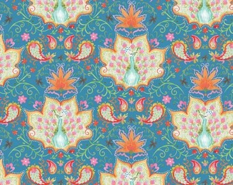 SALE - Blend Fabrics - Seasons of Love Collection - Lotus & Peacock in Blue