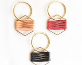 Brass Hexagon Woven Leather keychain - geometric fathers day gift
