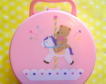 Vintage 1991 Sanrio Pink Teddy Bear Carousel Plastic Carry Case with Mirror