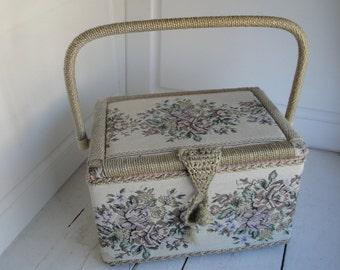 Vintage 1960s Sewing Basket Flowers Azar
