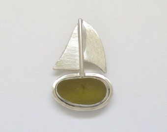 Sea Glass Jewelry - Sterling Olive Green Sea Glass Sailboat Pendant