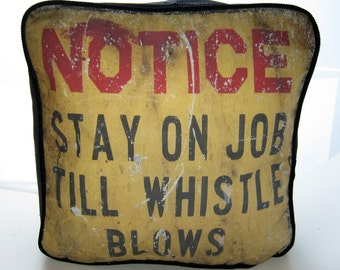Notice Stay On The Job Printed Fabric Pouffe Footrest Floor Cushion Pouff Black Corduroy