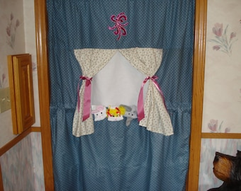 Complete set Doorway Puppet Theater with 3 Sock Puppets;  Elephant, Mouse and Girl