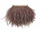 Ostrich Feathers, 1 Yard - MOCHA Ostrich Fringe Trim Wholesale Feather (bulk) : 3925