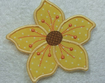 Iron on Flower Fabric Embroidered Iron On Applique Patch Ready to Ship