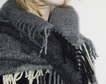 50% off with coupon code-Wool Plaid Blanket Scarf Shawl Wrap with fringes in natural gray black colors Winter Must Have