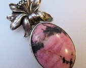 Art Nouveau Rhodonite Sterling Silver Pendant Antique Jewelry Jewellery