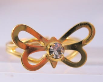 Butterfly Rhinestone Ring Adjustable Girls Gold Plated Costume Vintage Jewelry Jewellery