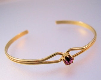 15% OFF SALE Vintage Girls Pink Stone Cuff Bracelet Gold Plated Never Worn