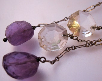 Vintage Faceted Amethyst Rock Crystal Drop Earrings Sterling Long Jewelry Jewellery