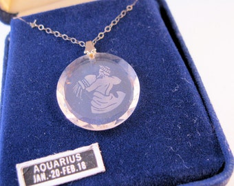 Vintage AQUARIUS Zodiac Sign Cameo Etched Crystal Pendant Necklace Sterling Silver w/Original Box Jewelry Jewellery