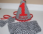 race cars first birthday party outfit, checkered flag cake smash outfit, black, white, red, 1st birthday,  boys diaper c