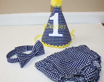 baby boy first birthday outfit, cake smash outfit for boy navy blue white check yellow 1st birthday boys diaper cover tie, birthday hat