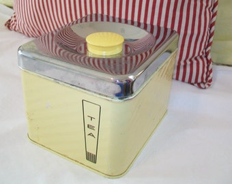 1950s Tea Tin, Yellow, metal tin, kitchen, storage
